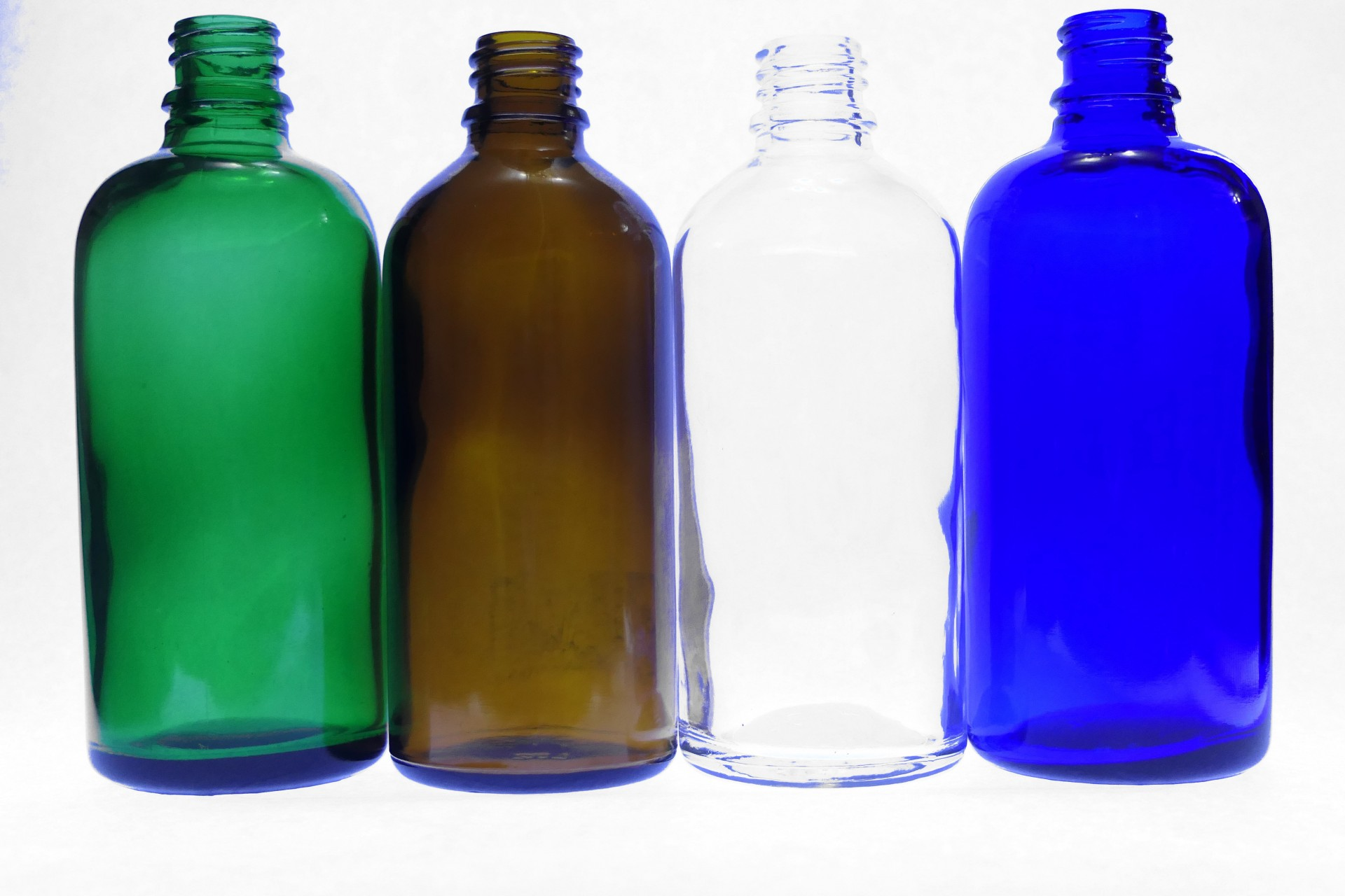 100ml Moulded Glass Bottles Clear Amber Blue Green