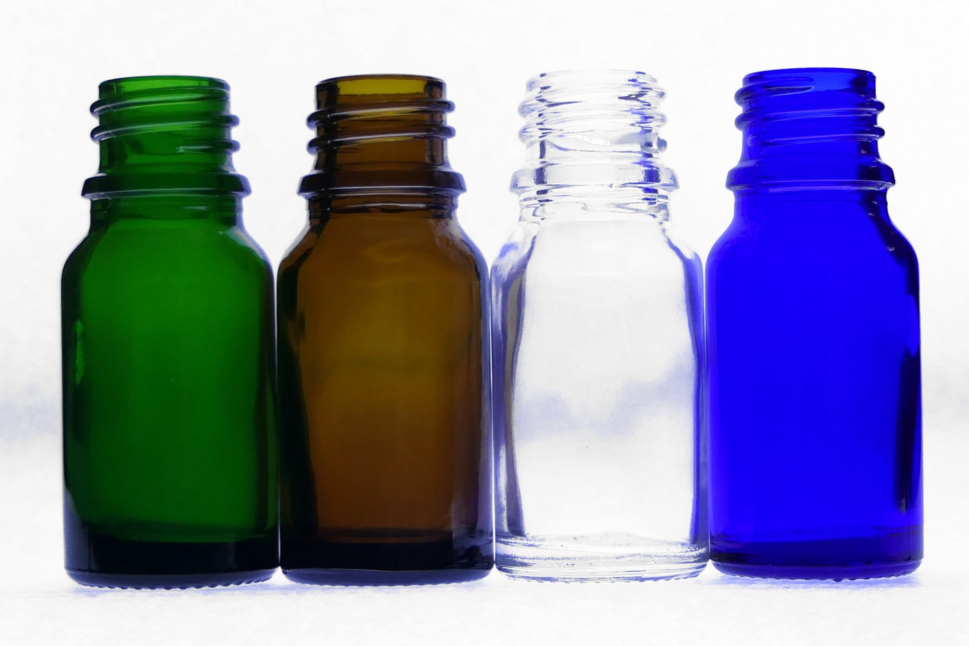 10ml Moulded Glass Bottles Clear Amber Blue Green