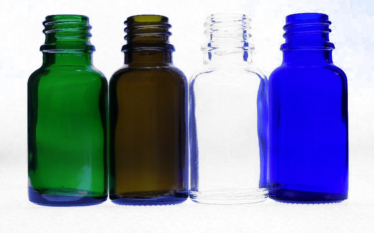 15ml Moulded Glass Bottles Clear Amber Blue Green