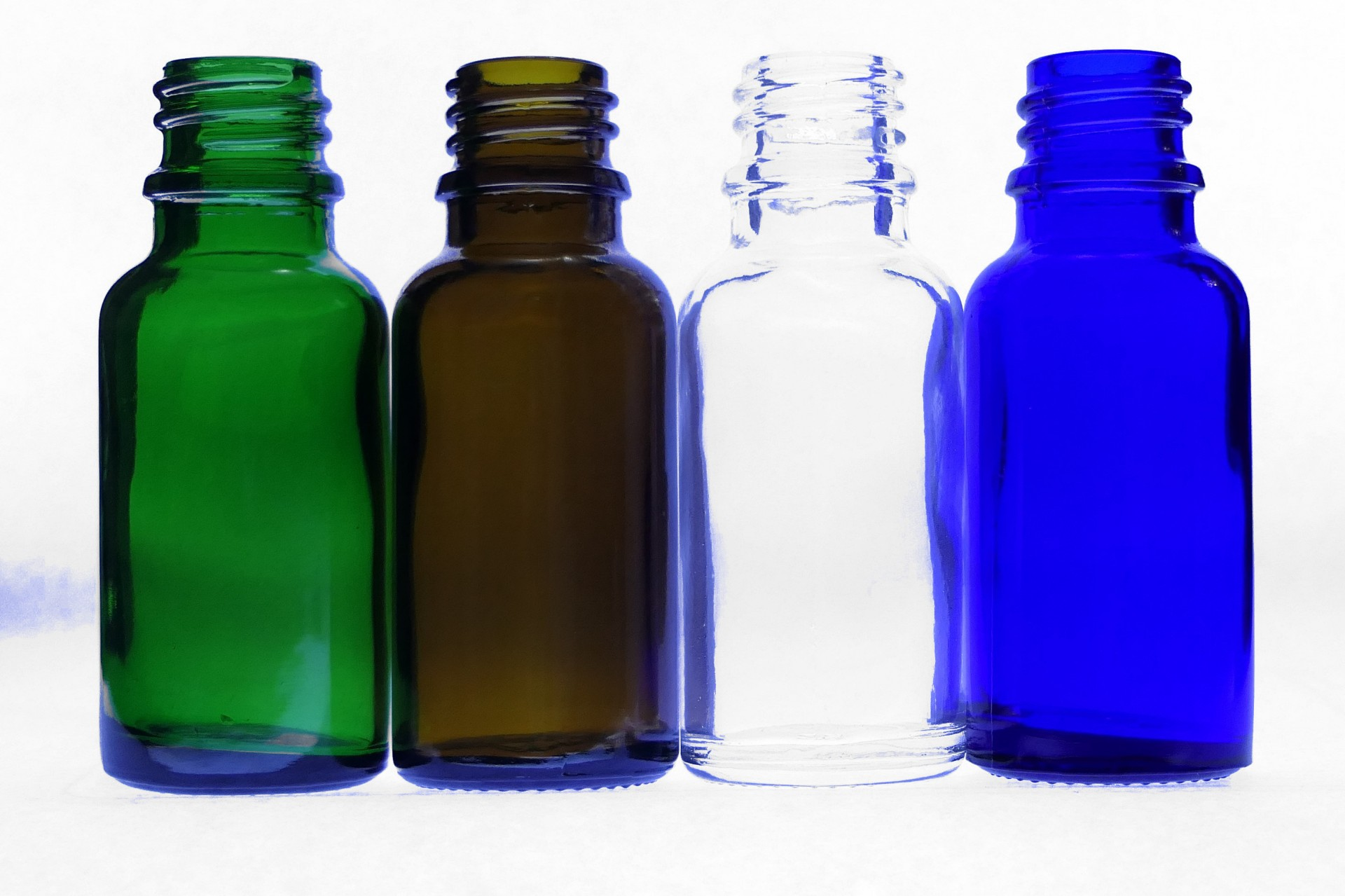 20ml Moulded Glass Bottles Clear Amber Blue Green