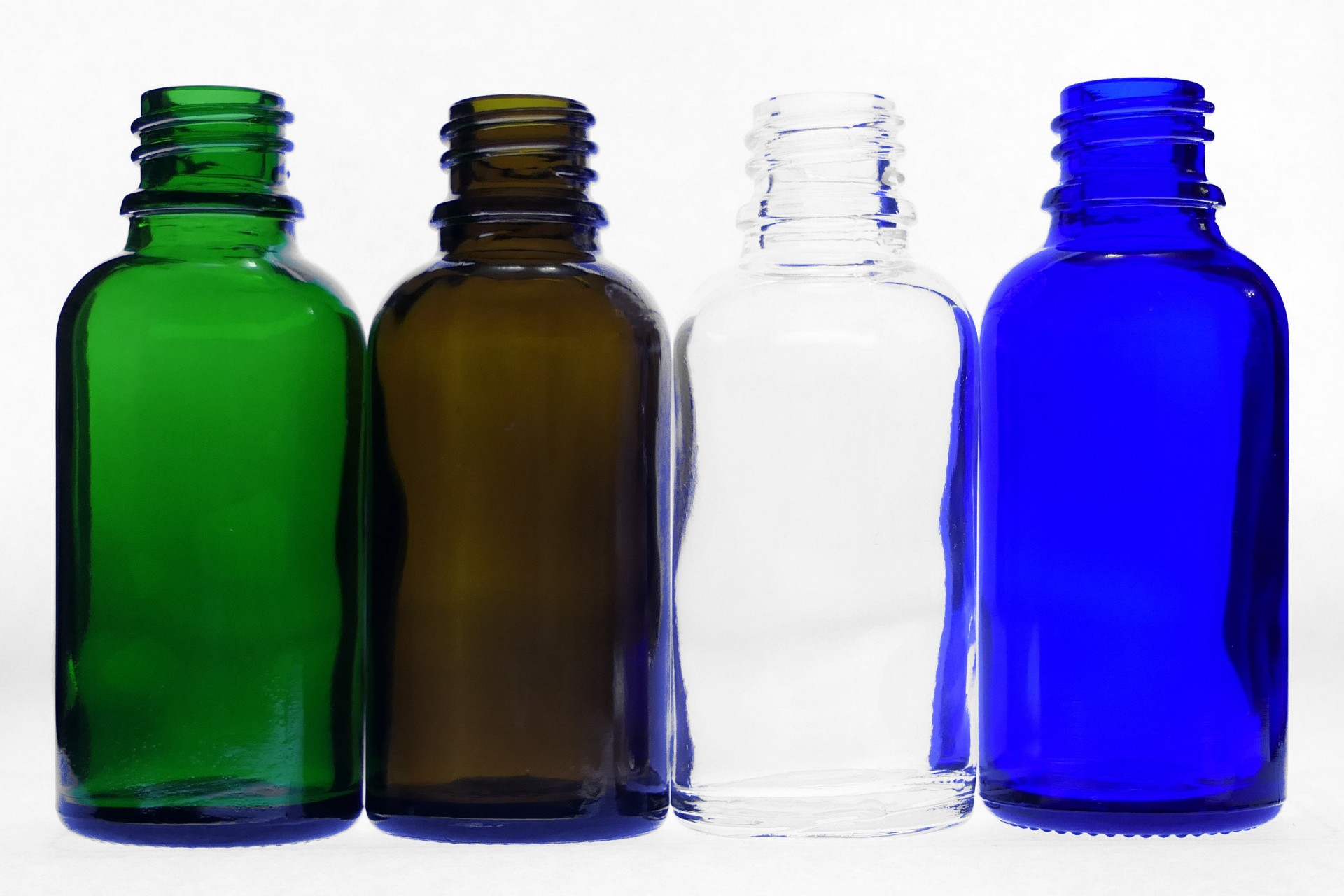 30ml Moulded Glass Bottles Clear Amber Blue Green